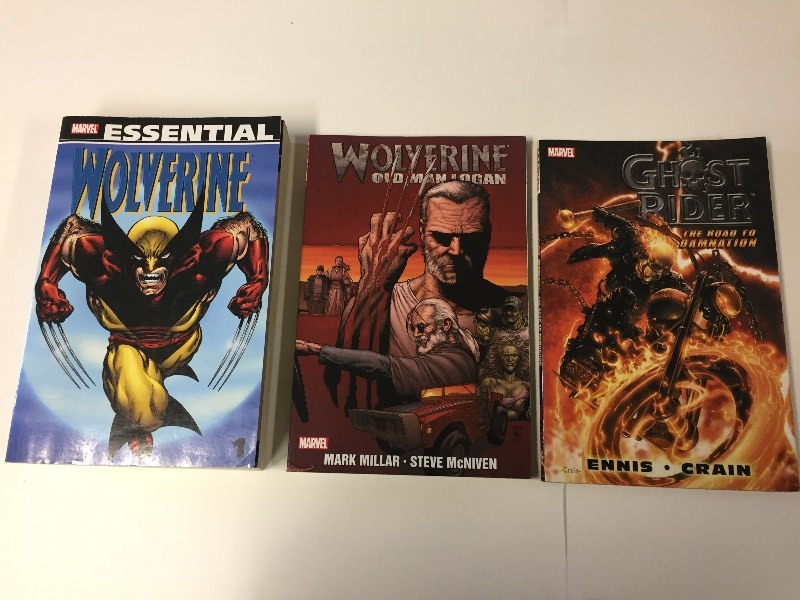Marvel Books Essential Wolverine, Ghost Rider, Wolverine Old Man Logan