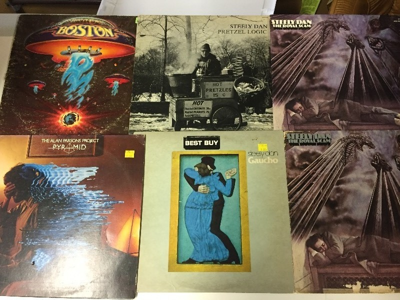 6 Vinyl Record Albums - Steely Dan, Boston, Alan Parsons
