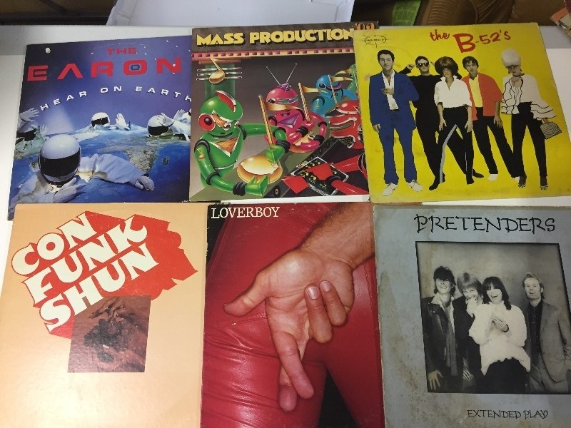 6 Vinyl Record Albums  - Earons, B-52's, Pretenders, Loverboy, Con Funk Shun, Mass Production 83
