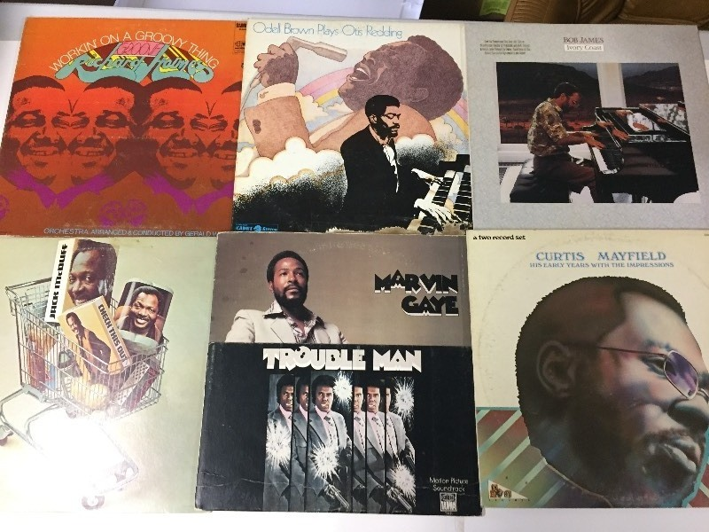 6 Vinyl Record Albums - Holmes, Gaye, Mayfield, Brown, McDuff, James