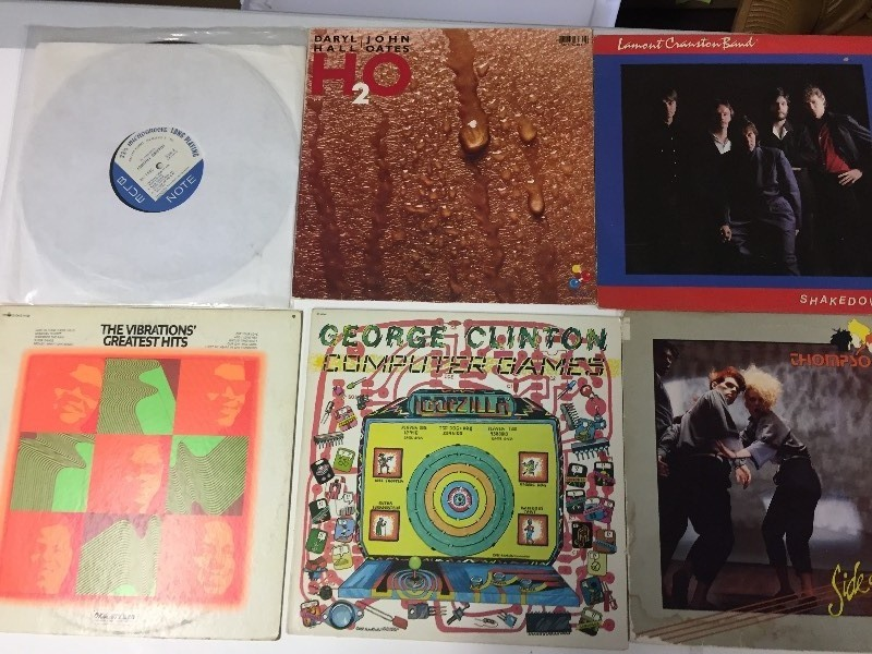 6 Vinyl Record Albums - Clinton, Cranston, Thompson Twins, Hall & Oates, Johnny Griffin, Vibrations