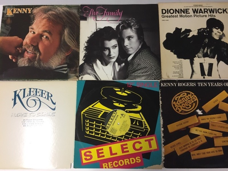 6 Vinyl Record Albums - Kenny Rogers, The Family, Warwick, Kleeer, Crush Nation