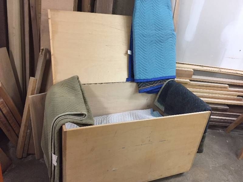 Wood Storage Chest & 12 Moving Blankets