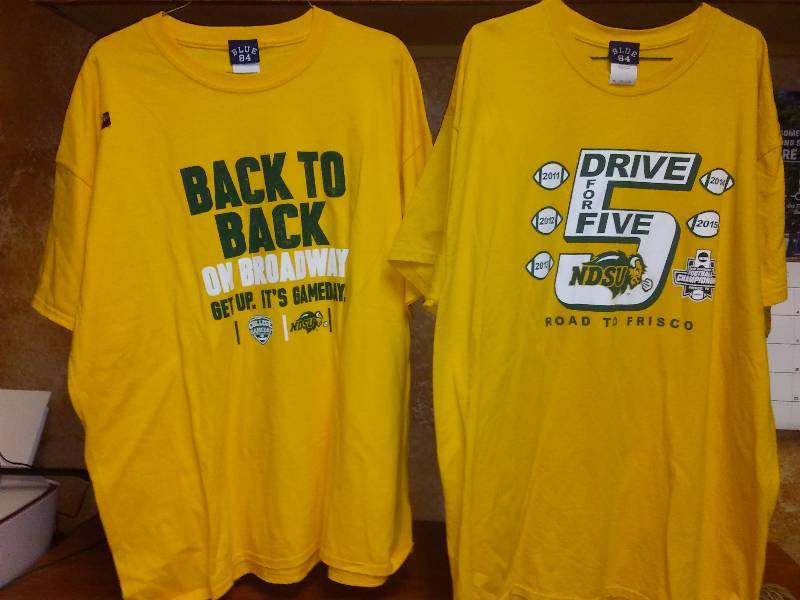2 NDSU Bison NCAA football T Tee shirts XL