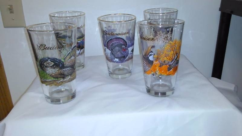 Budweiser 1999 Collector Wildlife Glasses (5) Duck, Partridge, Pheasant, Turkey and Quail