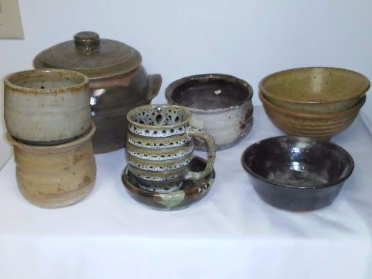Clay Stone Crock Lot (10) Earth tones, Covered Crock and more