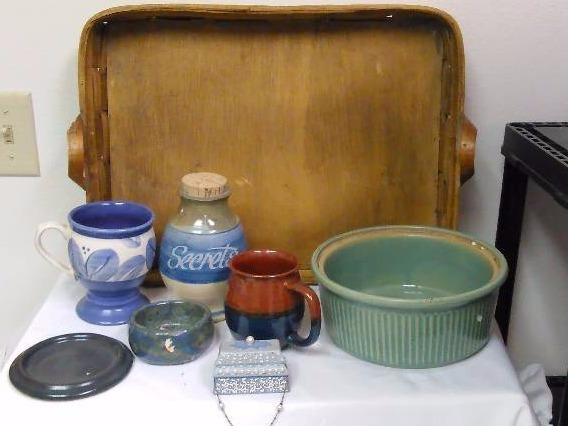 Serving Tray and Blue Green Tones Stoneware, Corked Jug, Bamboo Tray