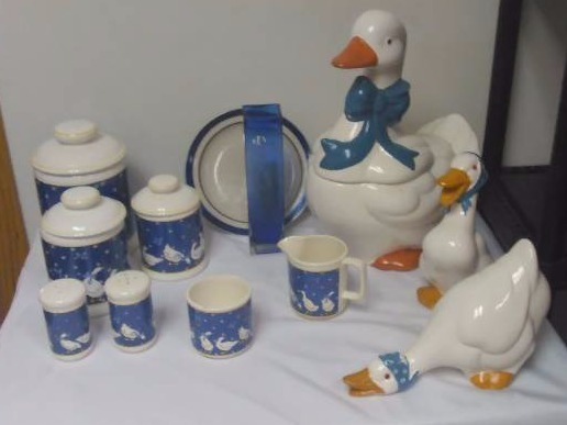 Blue and White Geese Ensemble, Canisters, S/P, Cookie Jar and more