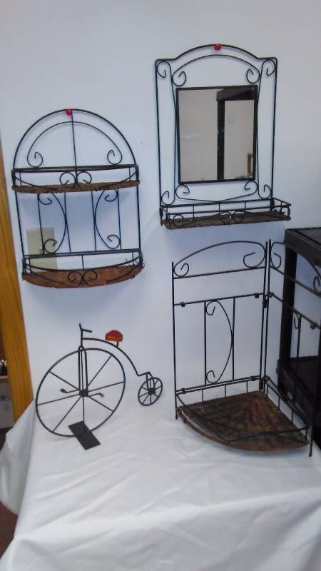 Metal and Wicker Display/Storage (3)