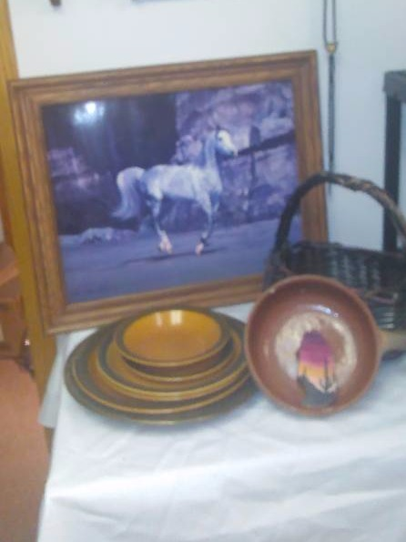 Wild Horses, Picture  Metal Horse Figurine, accent pieces, basket and more
