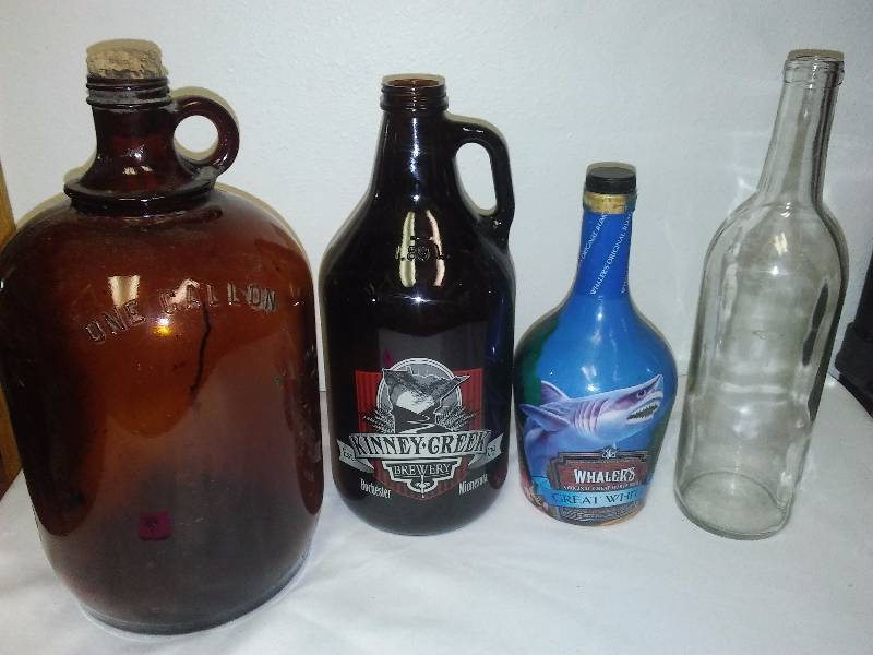 Vintage Glass Bottle 1-gallon Brown Jug, Kinney Creek Whaler's