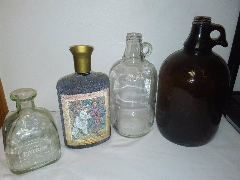 Vintage Glass Bottle 1-gallon Brown Jug, Marti Gra