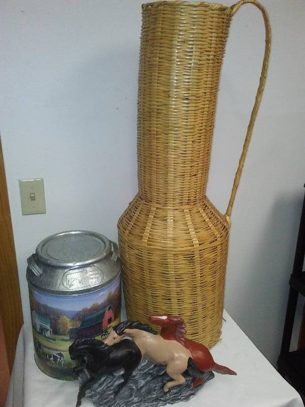 Tall Wicker Vase, Cream Can, Horse figurine