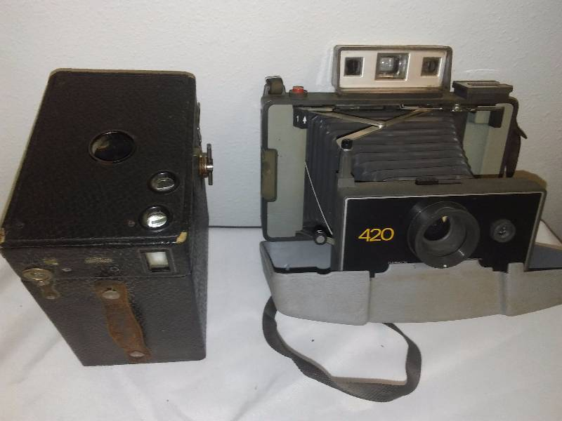 Vintage Cameras (2) Kodak Eastman Brownie and Polaroid 420