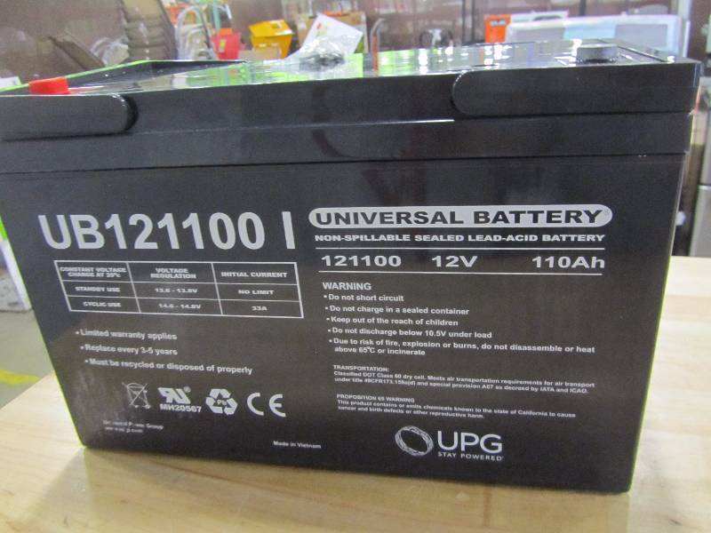 UPG Sealed Lead-Acid Battery - AGM-type, 12V, 110 Amps, Model# UB 121100