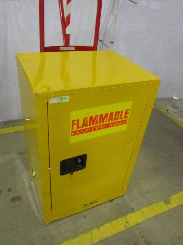 Edsal 35 in. H x 23 in.W x 18 in. D Steel Freestanding Flammable Liquid Safety Single-Door Storage Cabinet in Yellow