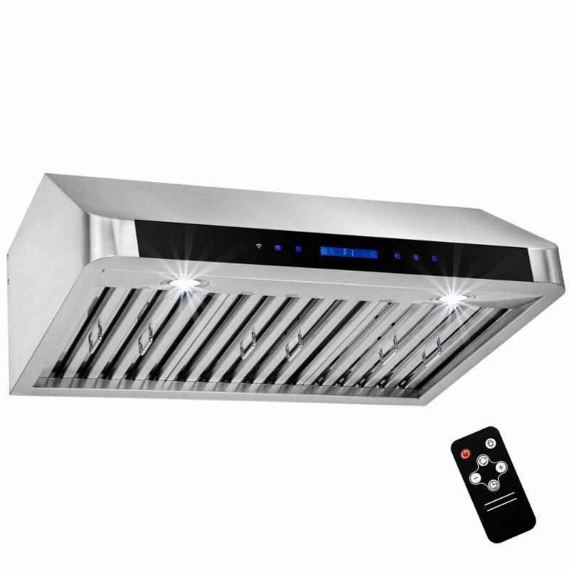 AKDY 30 in. Under Cabinet Range Hood in Stainless Steel with Touch Controls, Remote Control and Gas Sensor