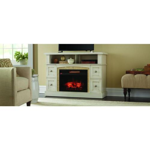 Media Center Console Infrared Electric Fireplace 48 In Antique White Finish New Kx Real Deals