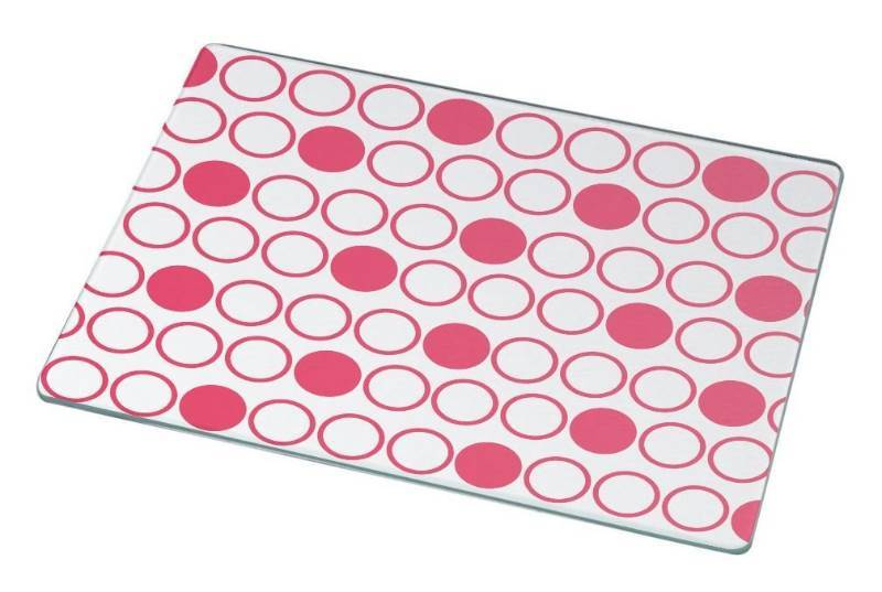 New Rikki Knight RK-LGCB-2890 Inverted Tropical Pink Polka Dots Glass Cutting Board, Large, White