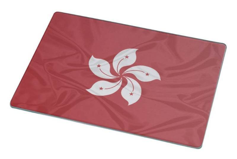 New Rikki Knight RK-LGCB-1669 Hong Kong Flag Glass Cutting Board, Large, White