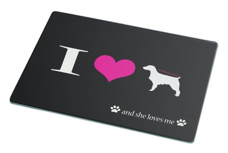 New Rikki Knight I Love My Brittany Spaniel Dog Large Glass Cutting Board