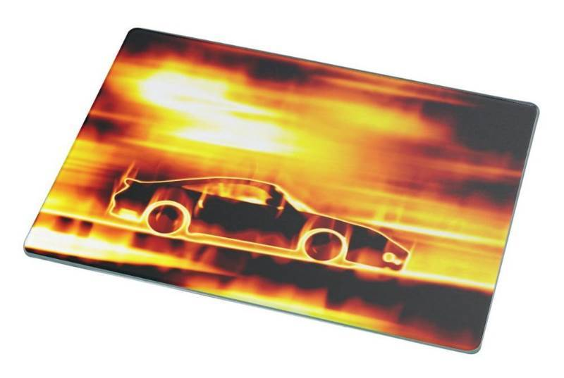New Rikki Knight Fiery Blazing Sports Car Large Glass Cutting Board