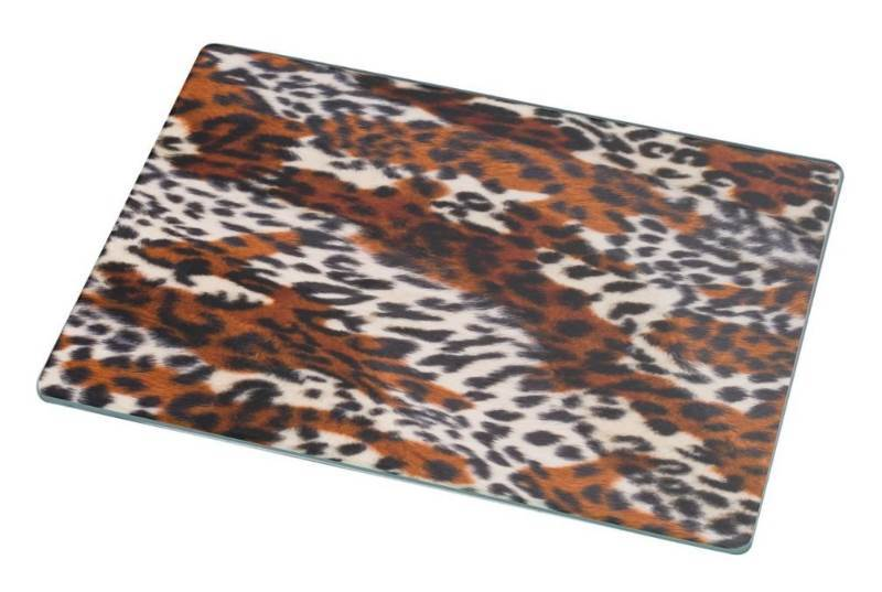 New Rikki Knight RK-LGCB-2004 Leopard Skin Pattern Glass Cutting Board, Large, White