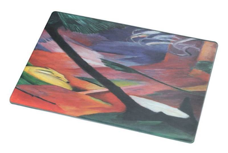 New Rikki Knight RK-LGCB-2916 Franz Marc Art Deer in Forest Glass Cutting Board, Large, Yellow