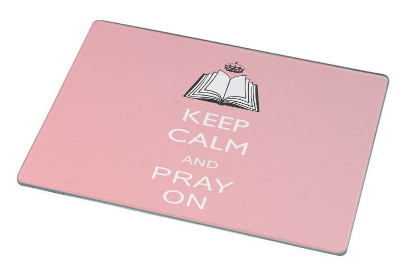 New Rikki Knight Keep Calm and Pray On Light Pink Color Large Glass Cutting Board