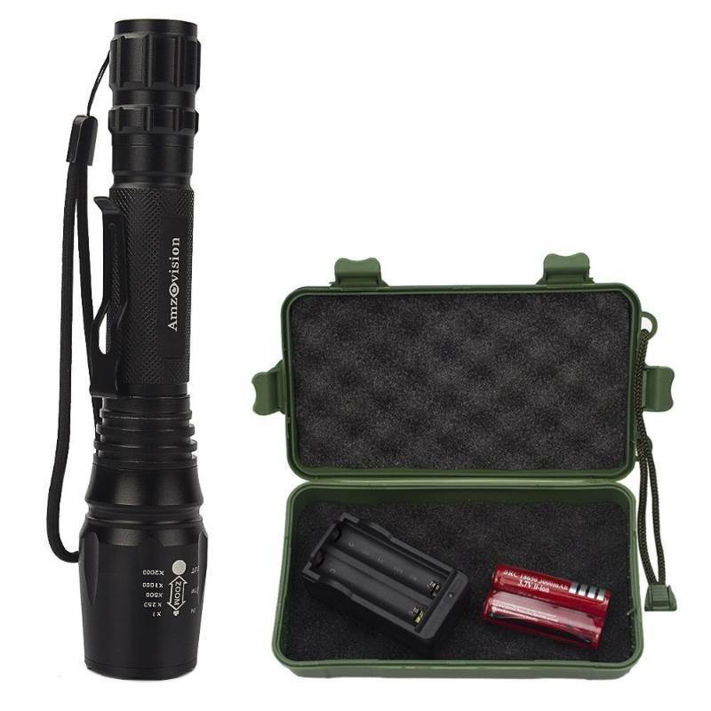 New Amz vision Portable Handheld LED Rechargeable Tactical High Lumens Bright Flashlight Torch with Zoomable Adjustable 5 Light Modes and 18650 Rechargeable Battery