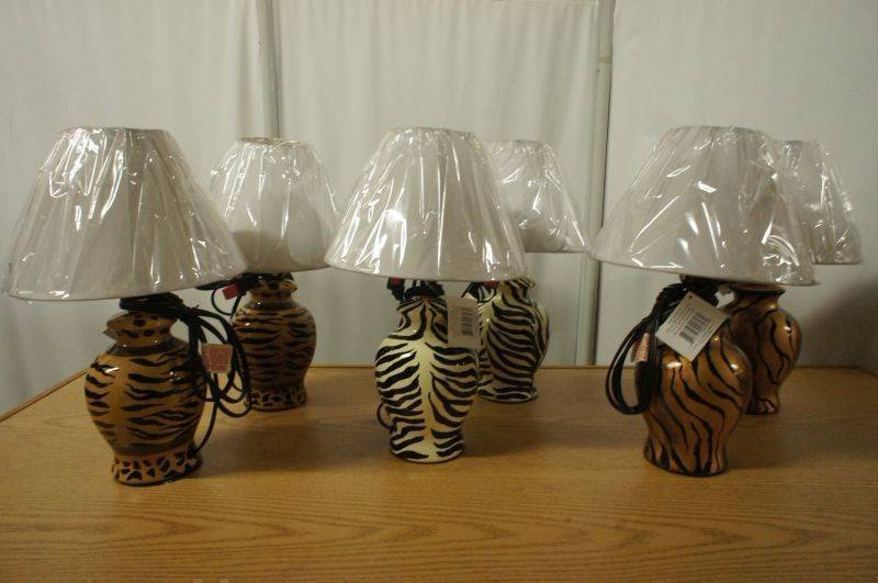 Lot of 6 New Siena Modern Mini HP Ceramic Safari Lamps Includes 2 Brown Zebra, 2 White Zebra, and 2 Bronze Cheetah