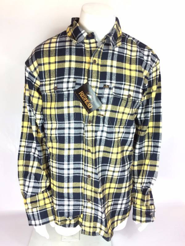 New RedHead Ultimate Navy Sugarcane Blue Yellow Flannel Long Sleeve Shirt Size XL