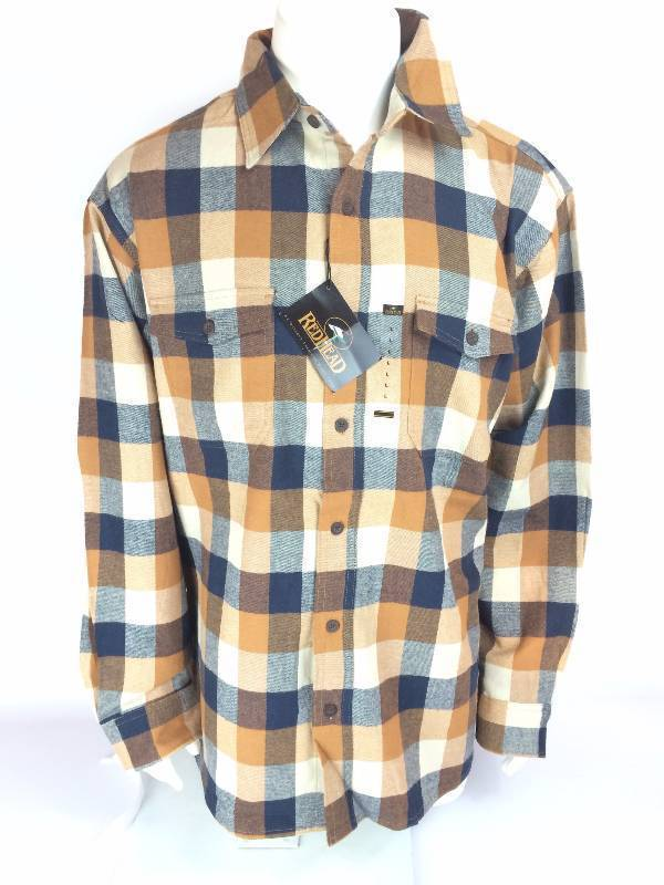New RedHead Ultimate Orange Blue White Flannel Long Sleeve Shirt Size Med