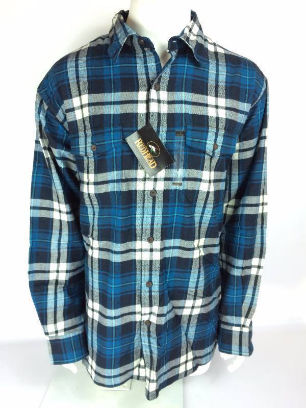 New RedHead Ultimate Navy Mallard Blue Green Flannel Long Sleeve Shirt Size Large