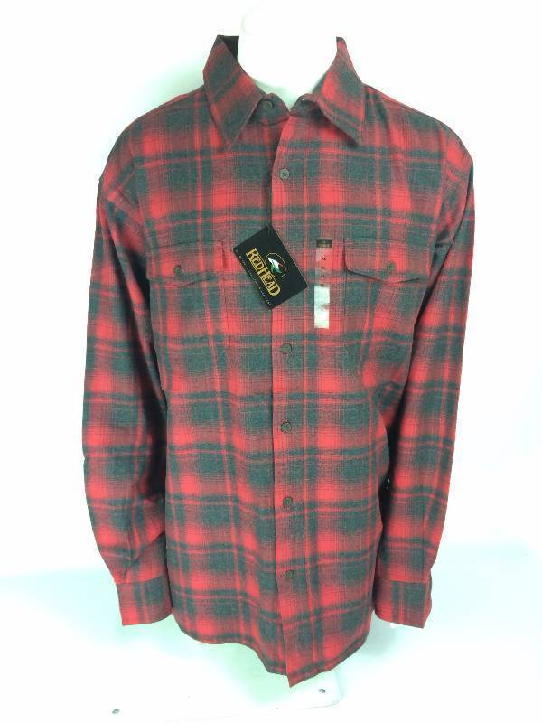 New RedHead Ultimate Red Charcoal Gray Flannel Long Sleeve Shirt Size XL