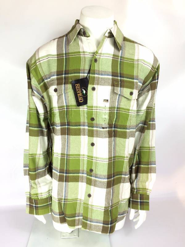 New RedHead Ultimate Callo Green Brown Flannel Long Sleeve Shirt Size Lg