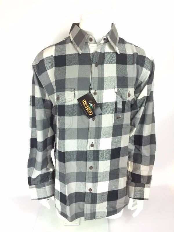 New RedHead Ultimate Black Gray Flannel Long Sleeve Shirt Size XL