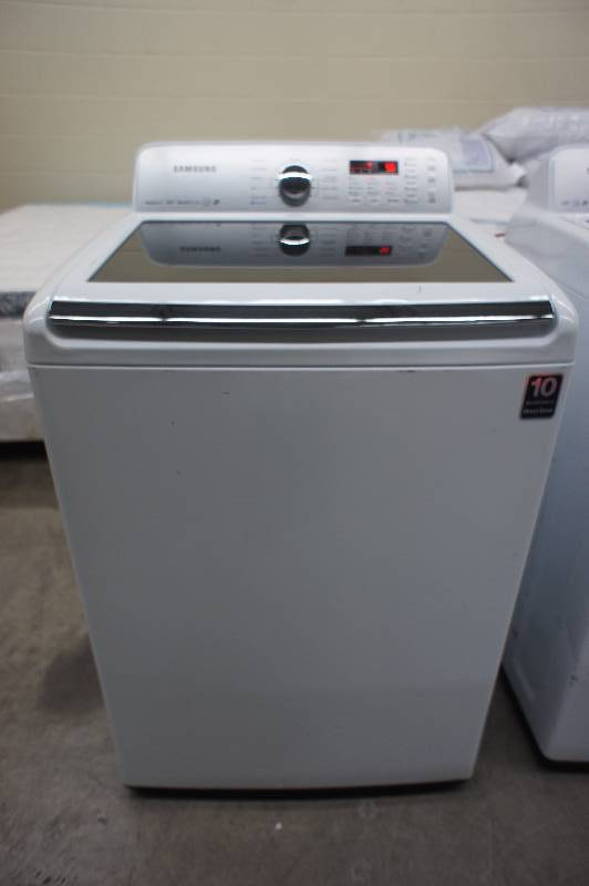 Scratch and Dent - Samsung Model # (WA456DRHDWR) Top-Loading Washer - 4.5 cu ft - White Color - Tested Works - MSRP $899.99