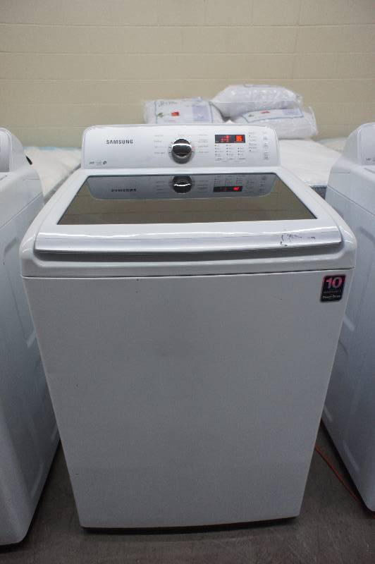 Scratch and Dent - Samsung Model # (WA422PRHDWR) Top-Loading Washer - 4.2 cu ft - White Color - Tested Works - MSRP $899.99
