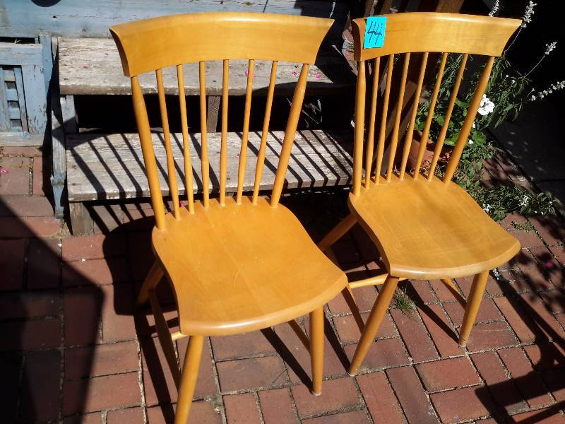 2 Maple Kitchen Chairs Household Downsizing Antique