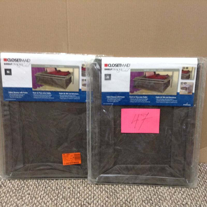Lot of 2 Closetmaid Shelftrack Fabric Drawer with frame
