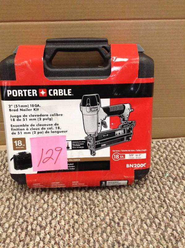 Porter Cable Porter-Cable Air-Powered Nail Gun: For Brad Nails, For 18 ga Nail Gauge, For Stick, For 5/8 in Min Nail Lg, For Adhesive