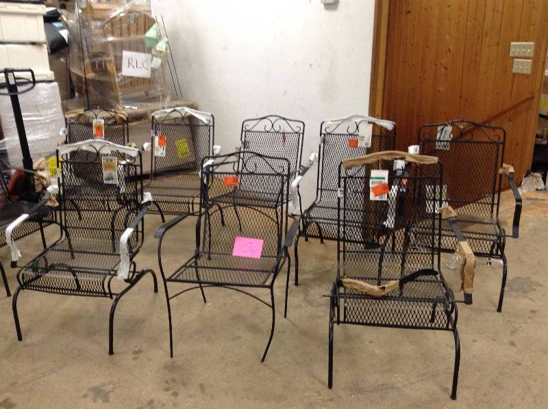 Lot of 7 Hampton Bay Nantucket Rocking Metal Outdoor Dining Chair - couple of them are damaged