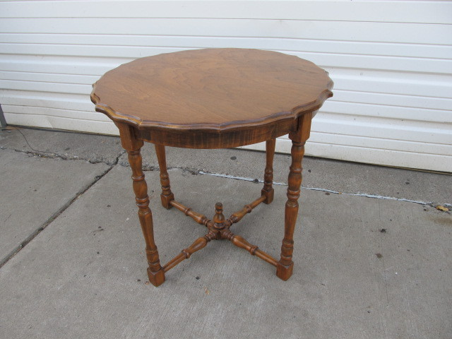 Vintage solid wood pie crust parlor table little canada