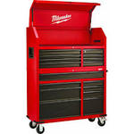 Milwaukee 46 in. 16-Drawer Tool Chest and Rolling Cabinet Set, Red and Black not used