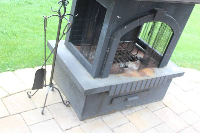 Stand Alone Brick Back 3 Open Sided Outdoor Fireplace W Grate Ash Collection Screens