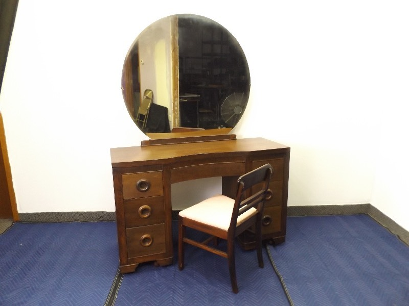 Antique Solid Wood Mid Century Danish Brutalist 7-Drawer Vanity with Mirror  and Chair | EC #211 High End Mid Century and Antique Furniture | K-BID - Antique Solid Wood Mid Century Danish Brutalist 7-Drawer Vanity With