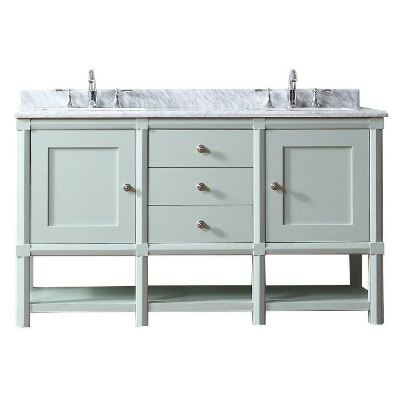 Martha Stewart Living Sutton 60 In W X 22 In D Vanity In Rain Water Not Used Damaged Bottom See
