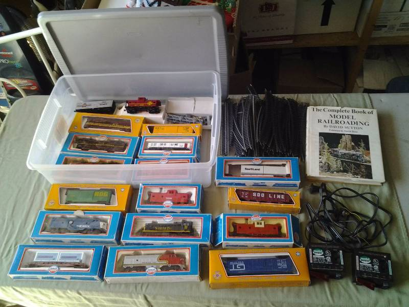 Lot Of Collectible Model Railroad Trains, Track, Transformers & Book