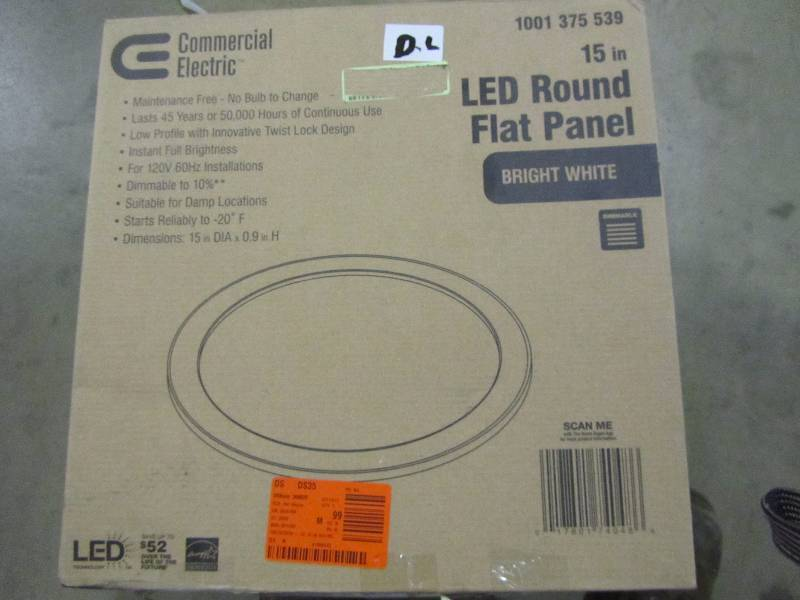 Commercial Electric 15 in  White LED Edge-Lit Flat Round